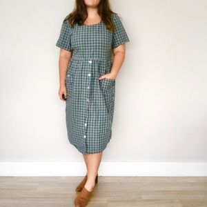 Vintage 90s checkered plaid forest green midi dres